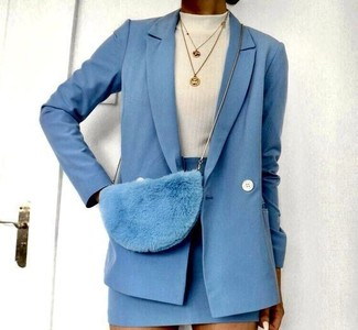 How to wear: light blue wool double breasted blazer, white turtleneck, light blue wool mini skirt, light blue fur crossbody bag