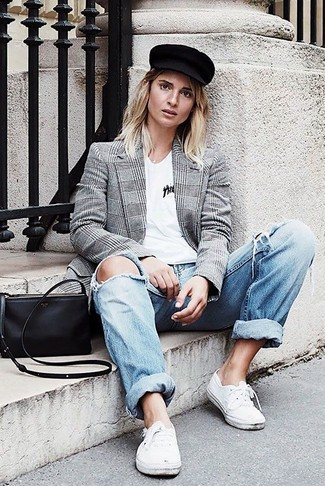 A grey check double breasted blazer and light blue ripped boyfriend jeans is a nice combination to impress your crush on a date night. Why not add white low top sneakers to the mix for a more relaxed feel?