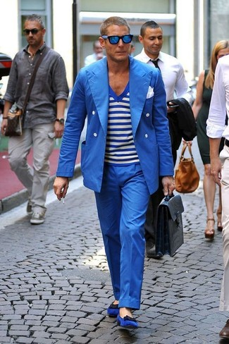 How to wear: blue double breasted blazer, white and blue horizontal striped v-neck t-shirt, blue dress pants, blue suede loafers