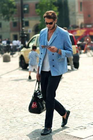 How to wear: blue double breasted blazer, white v-neck t-shirt, black dress pants, black leather driving shoes