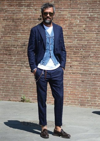 Go for a classic style in a navy check double breasted blazer and navy check dress pants. Want to go easy on the shoe front? Go for a pair of John W. Nordstrom men's Ethan Loafer for the day. As the weather turns cooler, you'll see that an outfit like this is great for fall.