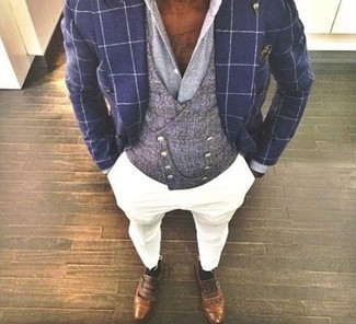 How to wear: navy check double breasted blazer, grey waistcoat, grey dress shirt, white chinos
