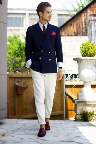 How to wear: navy double breasted blazer, black waistcoat, white dress shirt, white chinos