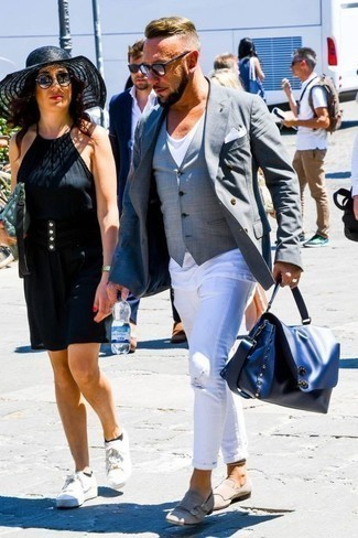 How to Wear a Grey Waistcoat: Nail the effortlessly smart outfit in a grey waistcoat and white ripped jeans. If you wish to easily bump up this look with a pair of shoes, why not introduce a pair of beige suede double monks to the equation?