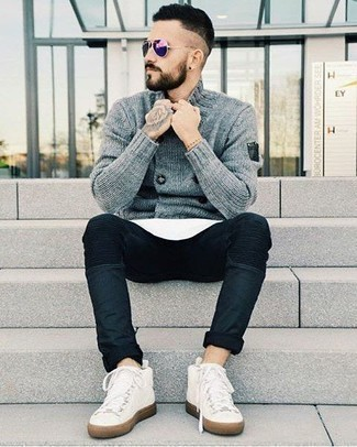How to Wear Violet Sunglasses For Men: Look dapper yet functional by opting for a grey double breasted cardigan and violet sunglasses. White canvas high top sneakers are the perfect companion for your getup.