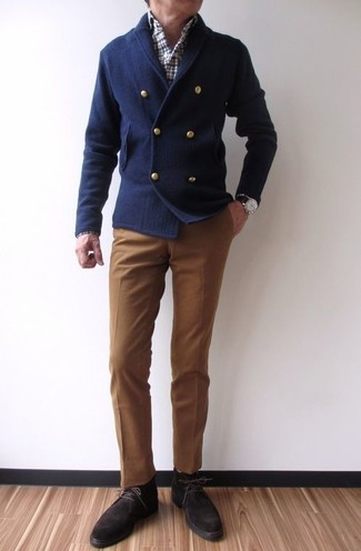 How to wear: navy double breasted cardigan, white and red and navy plaid long sleeve shirt, brown dress pants, dark brown suede desert boots