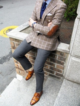 Brown plaid blazer navy tie and white pocket square lookastic for
