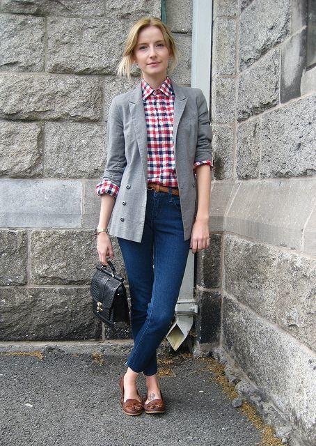 Womenu0026#39;s Red Plaid Dress Shirt Grey Blazer Brown Leather Belt Navy Skinny Jeans Black Leather ...