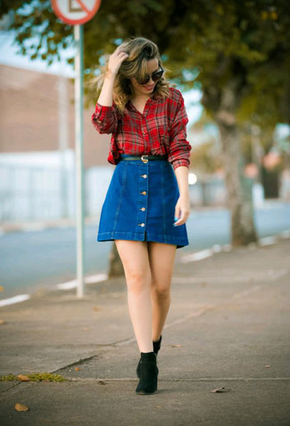 How to wear: red plaid dress shirt, blue denim button skirt, black suede chelsea boots, black leather belt