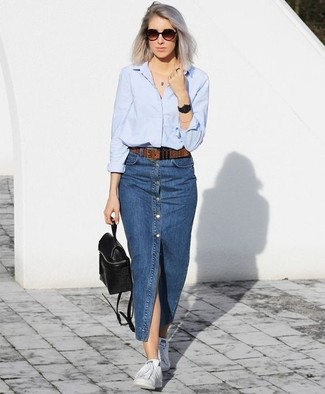 How to wear: light blue dress shirt, blue denim button skirt, white low top sneakers, black leather backpack