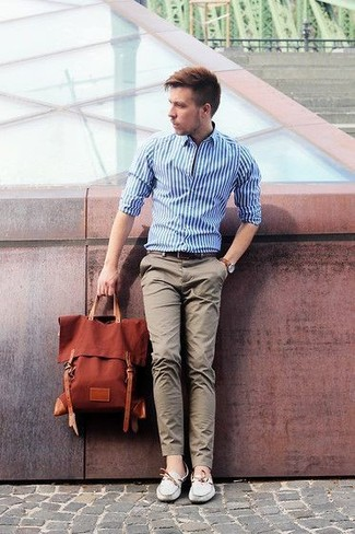 Men's White and Blue Vertical Striped Dress Shirt, Grey Chinos, Grey Leather Boat Shoes, Tobacco Backpack
