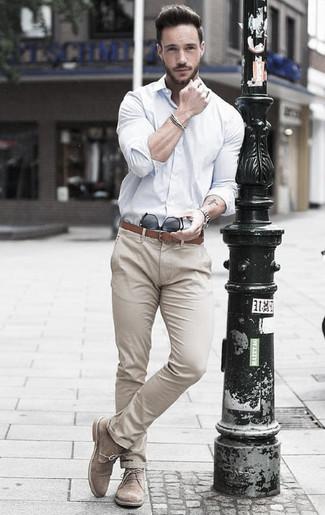 How to wear: white dress shirt, beige chinos, beige suede desert boots, brown leather belt
