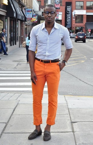 How to wear: light blue vertical striped dress shirt, orange chinos, charcoal suede loafers, dark brown leather belt