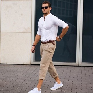 Men's White Dress Shirt, Beige Chinos, White Leather Low Top Sneakers, Dark Brown Woven Leather Belt