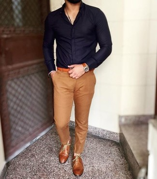 How to wear: navy dress shirt, khaki chinos, tobacco leather oxford shoes, orange leather belt