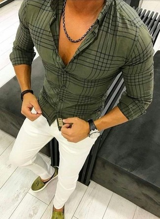Consider pairing an olive plaid dress shirt with a Diesel men's Layered Bracelet for a classic and refined silhouette. Olive suede tassel loafers work spectacularly well within this look. Is there a nicer choice for a summer day?