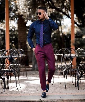 How to wear: navy dress shirt, purple chinos, black leather tassel loafers, purple horizontal striped tie