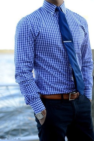 How to Wear a Blue Gingham Dress Shirt (25 looks) | Men's Fashion