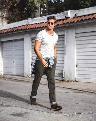 Men's White and Blue Vertical Striped Dress Shirt, White Crew-neck T-shirt, Charcoal Jeans, Olive Suede Boat Shoes