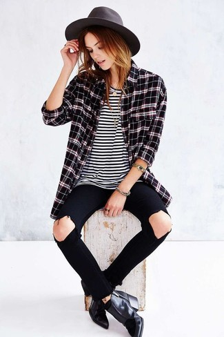 Women's Black Plaid Dress Shirt, White and Black Horizontal Striped Crew-neck T-shirt, Black Ripped Skinny Jeans, Black Leather Ankle Boots
