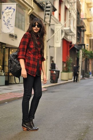Women's Red and Black Plaid Dress Shirt, Black Crew-neck T-shirt ...