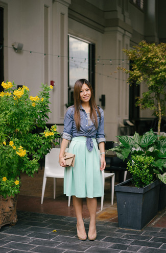 How to wear: blue chambray dress shirt, white and black horizontal striped cropped top, mint pleated midi skirt, beige leather heeled sandals