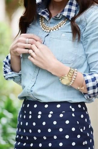 Women's White and Navy Gingham Dress Shirt, Light Blue Denim Shirt, Navy and White Polka Dot Pencil Skirt, Gold Necklace
