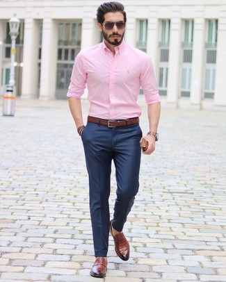 How to wear: pink dress shirt, navy dress pants, brown leather loafers, dark brown leather belt