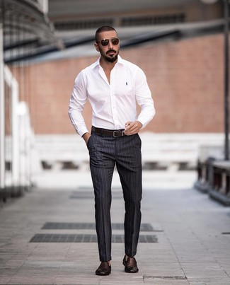 How to wear: white dress shirt, charcoal vertical striped dress pants, dark brown woven leather loafers, dark brown leather belt