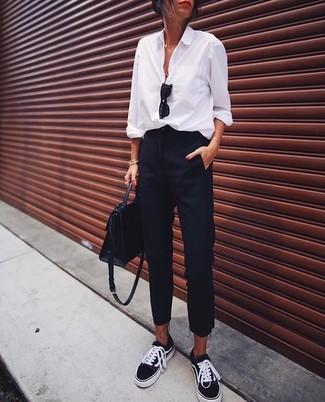 How to wear: white dress shirt, black dress pants, black low top sneakers, black leather satchel bag