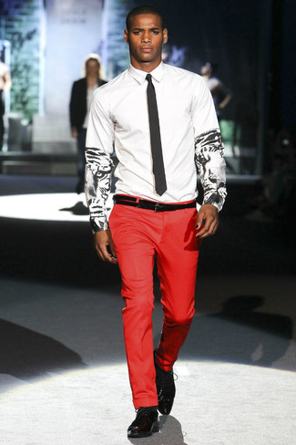 Men's White and Black Print Dress Shirt, Red Dress Pants, Black ...
