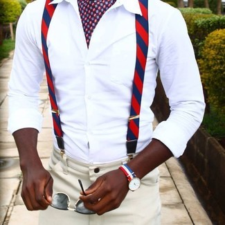 How to wear: white dress shirt, beige dress pants, burgundy print scarf, black sunglasses