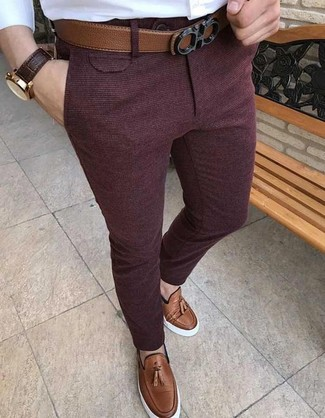 How to wear: white dress shirt, burgundy wool dress pants, brown leather tassel loafers, brown leather belt