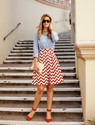 Women's Light Blue Vertical Striped Dress Shirt, White and Red Chevron Full Skirt, Red Suede Pumps, White Studded Leather Clutch