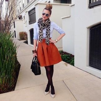 How to wear: light blue dress shirt, orange full skirt, grey leather pumps, black leather satchel bag