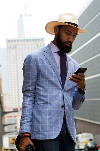 How to wear: light violet vertical striped dress shirt, navy jeans, beige straw hat, violet tie