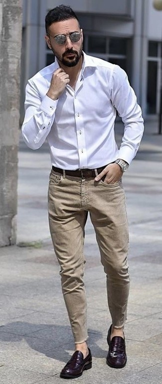 How to wear: white dress shirt, khaki jeans, violet leather loafers, dark brown leather belt