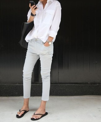 How to wear: white dress shirt, white jeans, black thong sandals, black leather tote bag