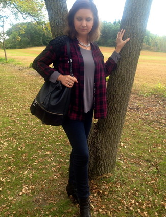 How to wear: red and black plaid dress shirt, grey long sleeve t-shirt, navy skinny jeans, black leather ankle boots