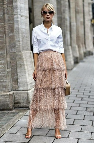 How to wear: white dress shirt, beige lace maxi skirt, gold leather heeled sandals, beige leather clutch