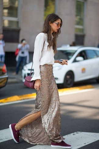 How to wear: white dress shirt, gold sequin maxi skirt, burgundy suede low top sneakers, burgundy leather crossbody bag