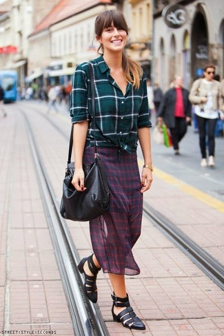 Women's Teal Plaid Dress Shirt, Red and Navy Check Chiffon Midi Skirt, Black Leather Gladiator Sandals, Black Leather Crossbody Bag