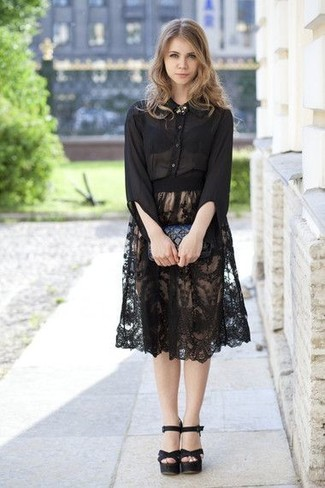 How to wear: black chiffon dress shirt, black pleated lace midi skirt, black leather heeled sandals, black quilted leather clutch