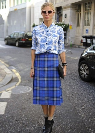 Women's White and Blue Floral Dress Shirt, Blue Plaid Midi Skirt, Black Leather Wedge Ankle Boots, Black Leather Clutch