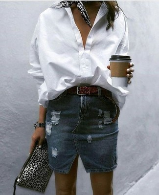 How to wear: white dress shirt, navy ripped denim mini skirt, grey leopard leather clutch, black and white print bandana