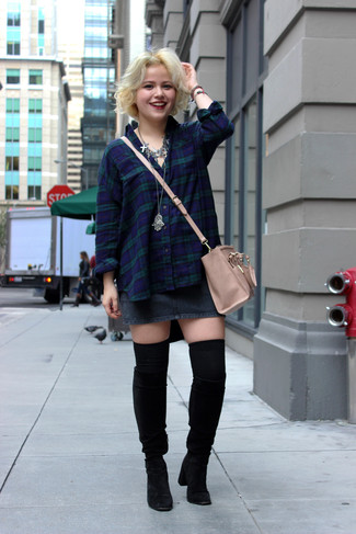 This combination of a navy and green plaid classic shirt and a charcoal denim mini skirt is perfect for off-duty occasions. For the maximum chicness rock a pair of black suede knee high boots.