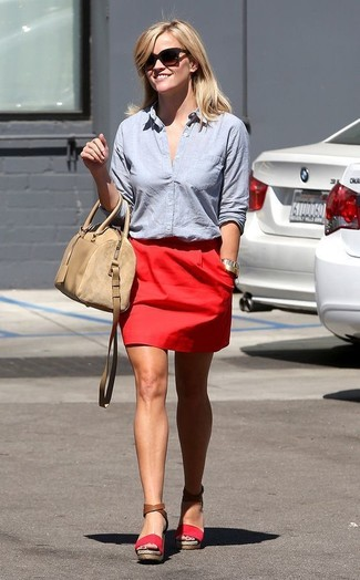 Reese Witherspoon wearing Light Blue Dress Shirt, Red Mini Skirt, Red Suede Wedge Sandals, Beige Leather Satchel Bag