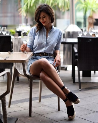 How to wear: light blue vertical striped dress shirt, light blue ripped denim mini skirt, black suede wedge sandals, black leather belt