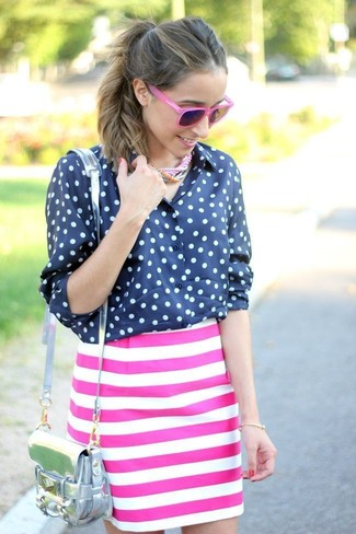 Women's Navy and White Polka Dot Chiffon Dress Shirt, Hot Pink Horizontal Striped Pencil Skirt, Silver Leather Crossbody Bag, Hot Pink Sunglasses