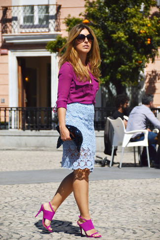 How to wear a light blue lace pencil skirt 4 looks for What color shirt goes with a purple skirt